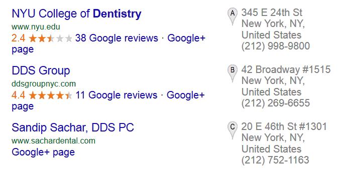 lokale zoekresultaten