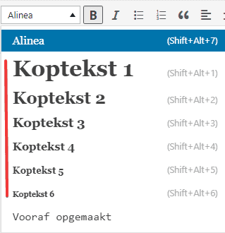 Koppen aanpassen in WordPress
