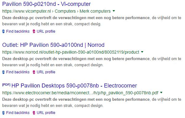 Duplicate content webshops zoekresultaten