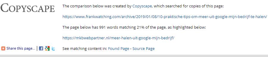 Percentage duplicate checken met Copyscape.