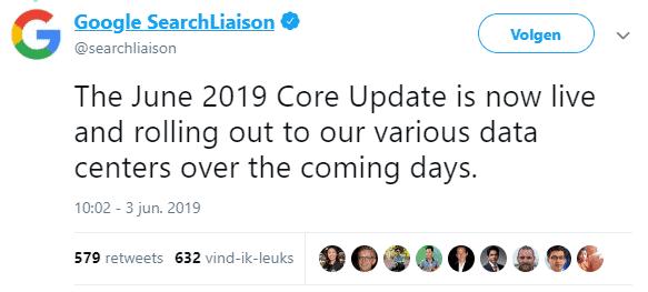 Google kondigt de update aan via Twitter.
