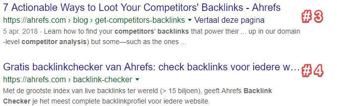 2 zoekresultaten van hetzelfde domein in Google.