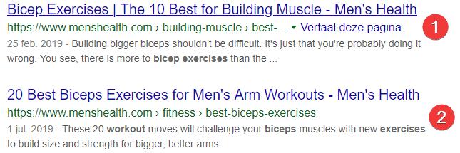 Mens health met 2 pagina's op plaats 1 en 2 in Google.
