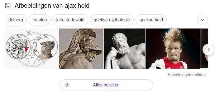 Zoekresultaten Ajax.