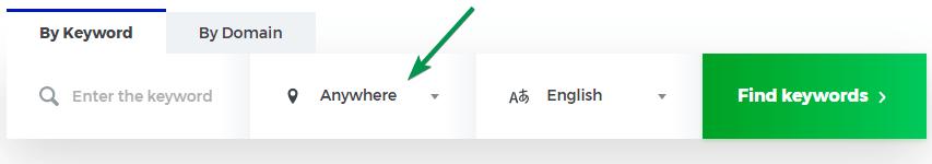 De locatie van een zoekwoord instellen in KWFinder.