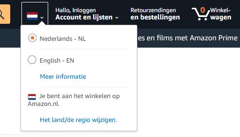 Van taal switchen op de website van Amazon.