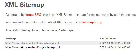 XLM Sitemap voor een WordPress-website, aangemaakt met Yoast SEO.