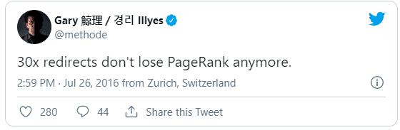 30x redirects verliezen geen PageRank.