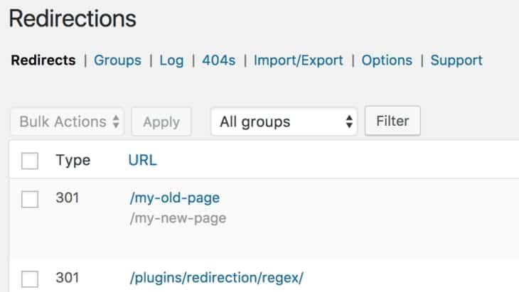 Redirects maken met de Redirection-plugin.